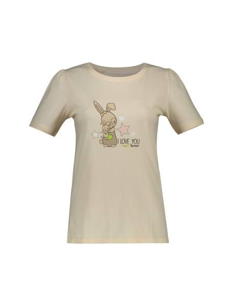 تی شرت و شلوار نخی زنانه طرح خرگوش و ستاره - گلبهي - 1