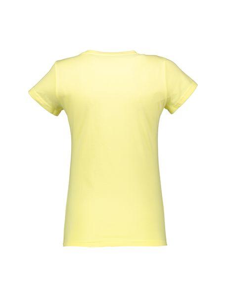 تی شرت نخی یقه گرد زنانه - زرد - 2