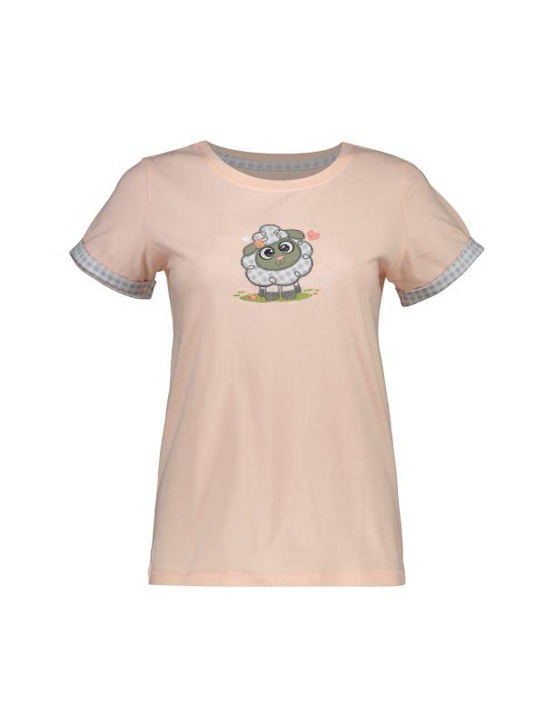 تی شرت و شلوار نخی زنانه طرح بره چهار خانه
