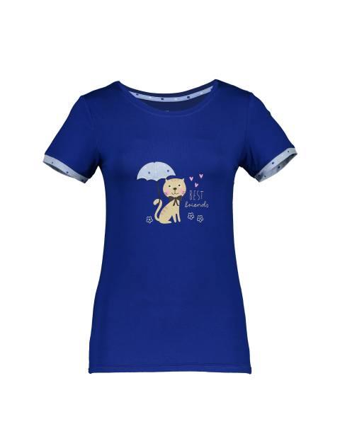 تی شرت و شلوار نخی زنانه - آبي - 2