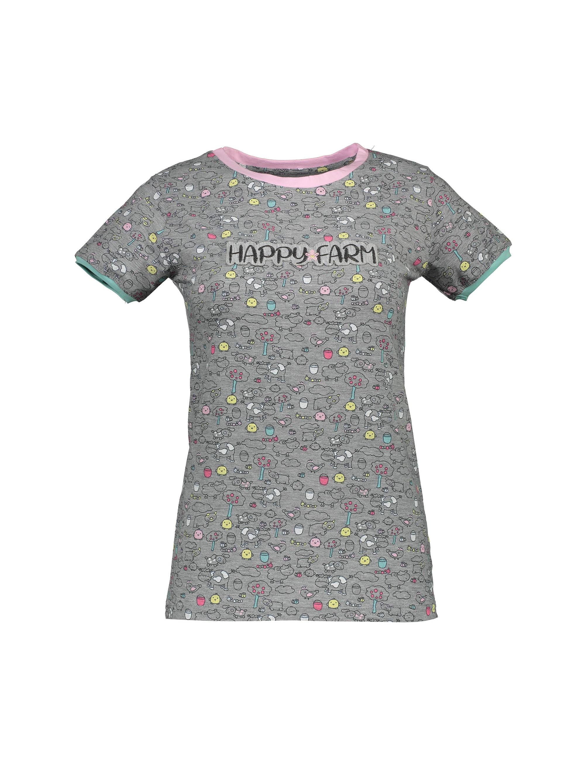 تی شرت و شلوار نخی زنانه مدل مزرعه شاد - طوسي - 2