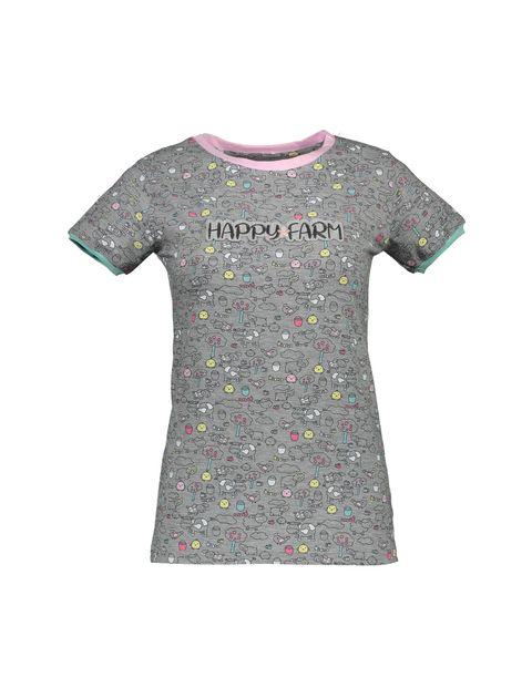 تی شرت و شلوار نخی زنانه مدل مزرعه شاد - ناربن - طوسي - 2