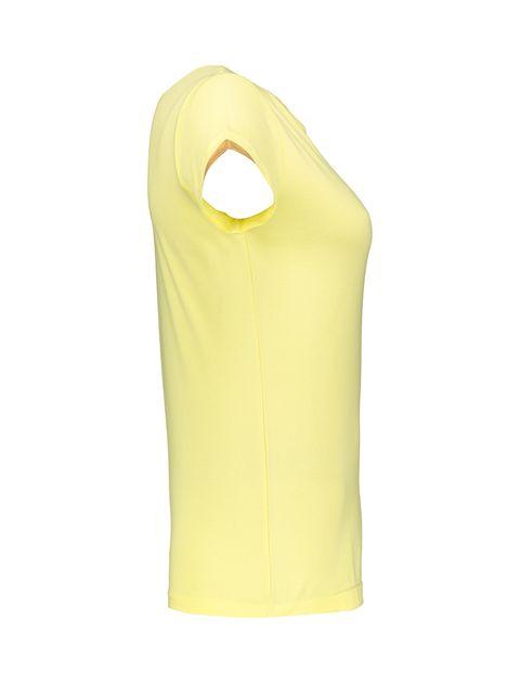 تی شرت نخی یقه گرد زنانه - ناربن - زرد - 3
