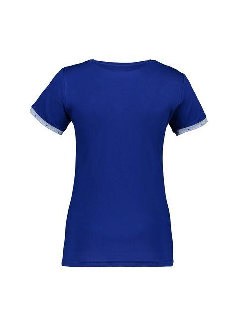 تی شرت و شلوار نخی زنانه - آبي - 3