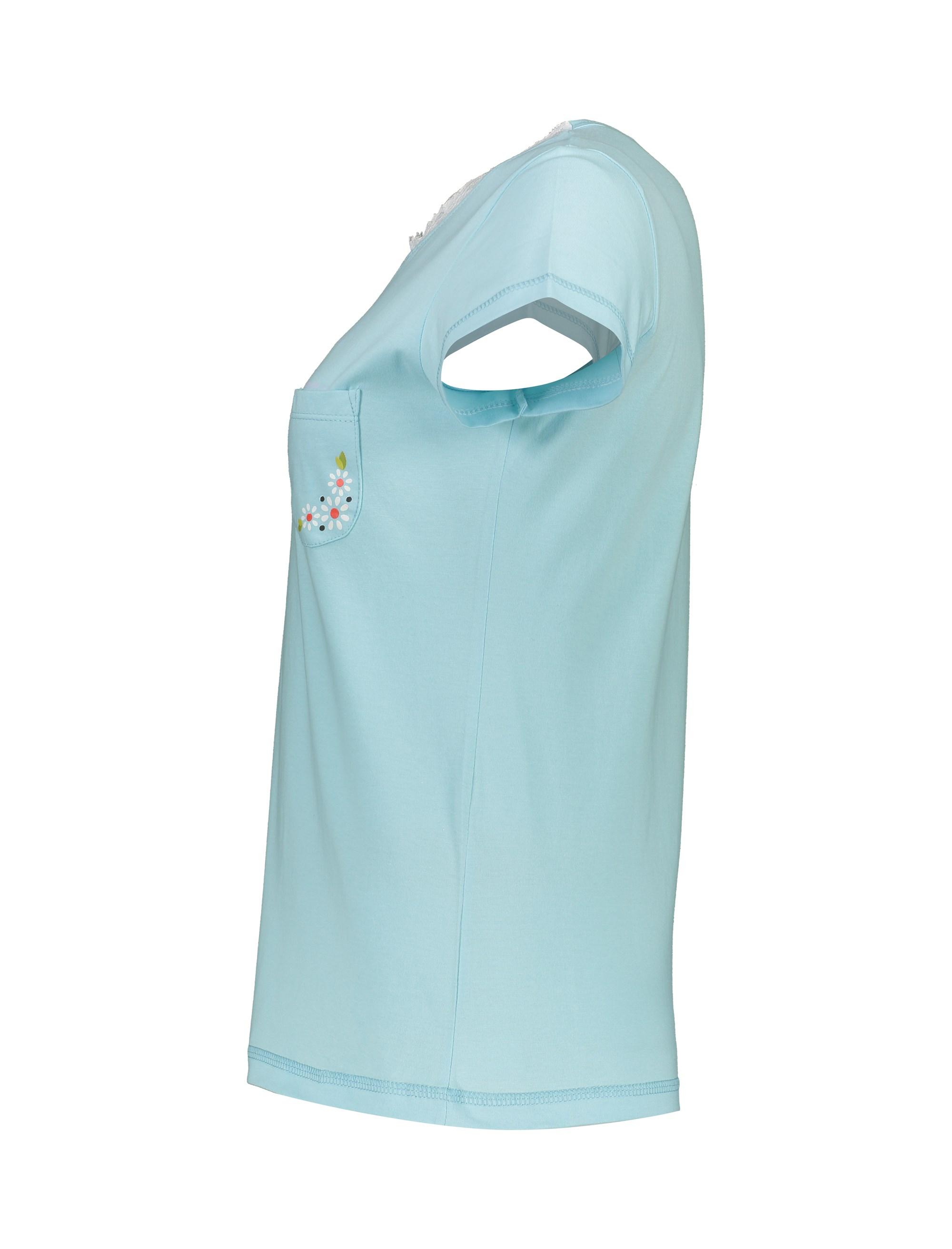 تی شرت و شلوار راحتی نخی زنانه پرک سه گل - فيروزه اي - 4