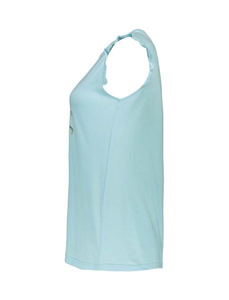 تی شرت و شلوارک نخی زنانه - آبي روشن - 4