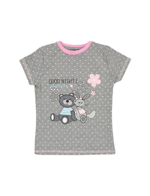 تی شرت و شلوار نخی دخترانه مدل خرس و خرگوش - طوسي - 2