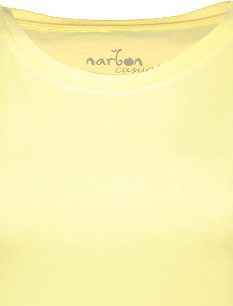 تی شرت نخی یقه گرد زنانه - زرد - 4