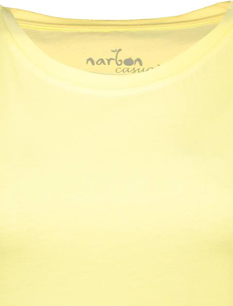 تی شرت نخی یقه گرد زنانه - ناربن - زرد - 4