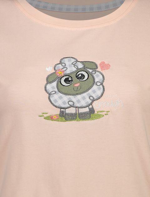 تی شرت و شلوار نخی زنانه طرح بره چهار خانه - ناربن - گلبهي - 5