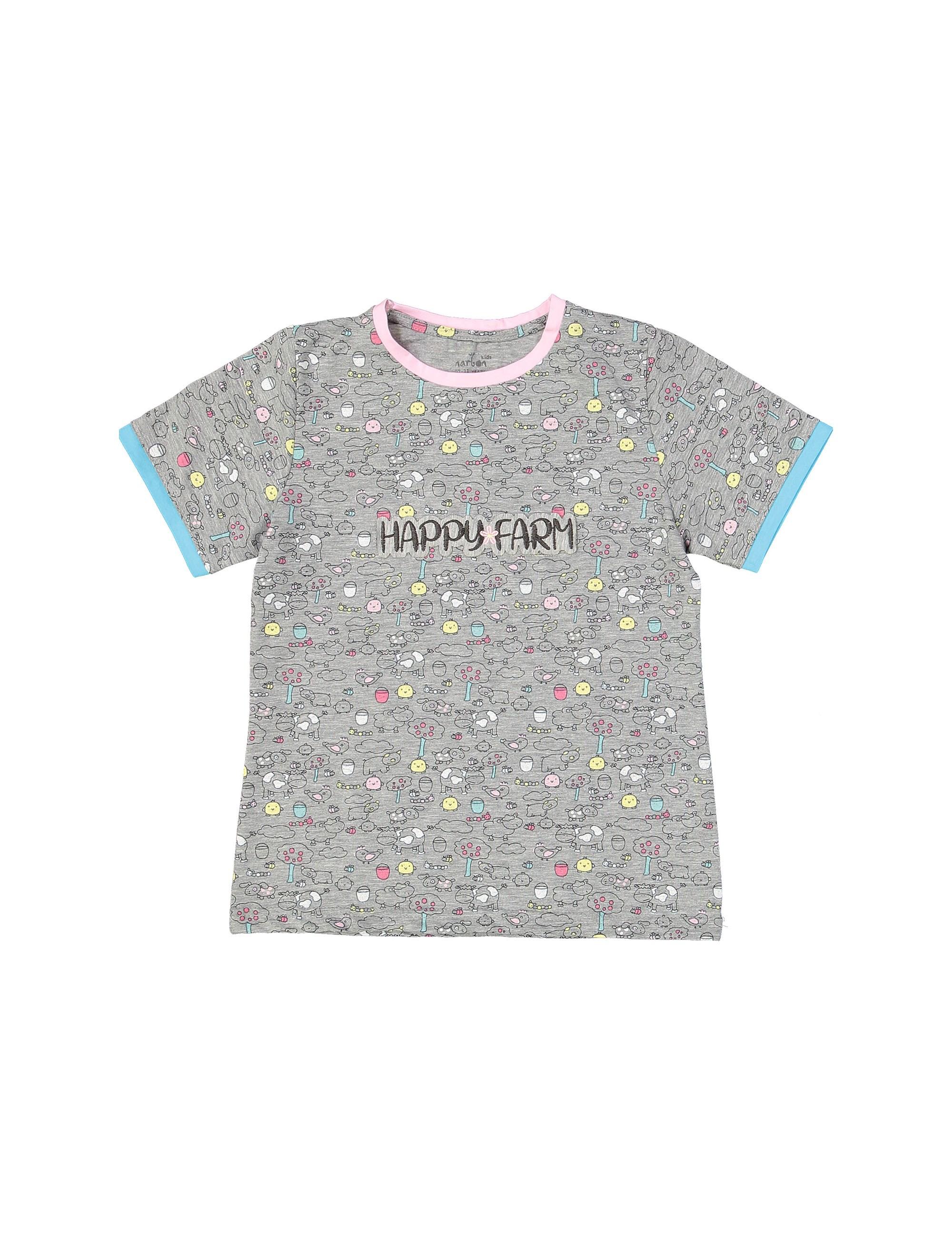 تی شرت و شلوار نخی بچگانه مزرعه شاد - ناربن - طوسي - 2
