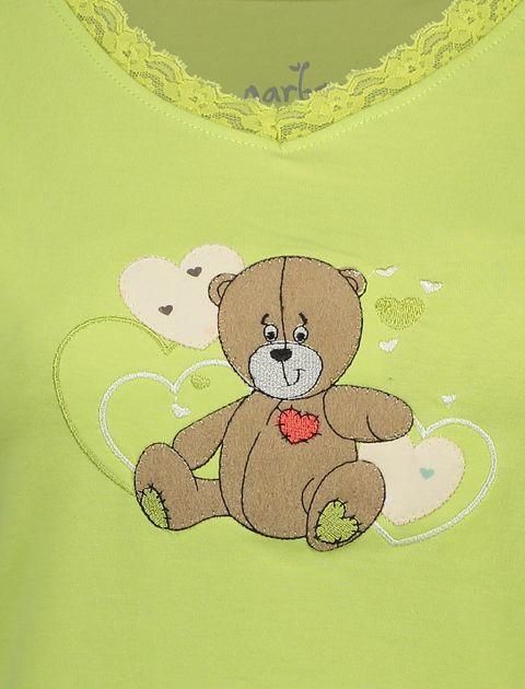 تی شرت و شلوار نخی زنانه خرس مهربان - سبز - 4