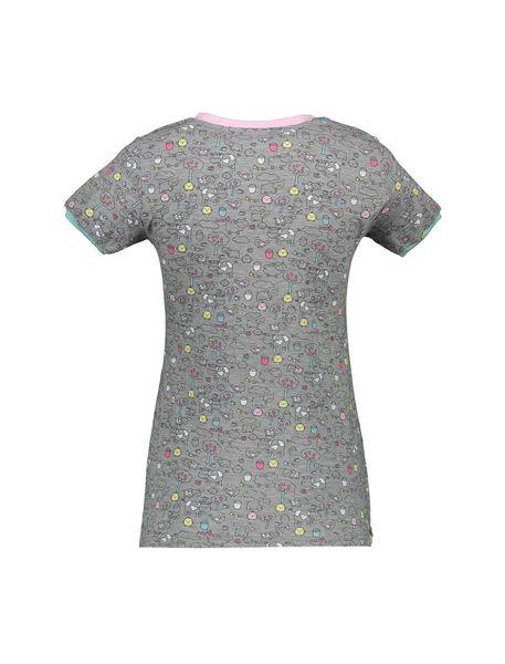 تی شرت و شلوار نخی زنانه مدل مزرعه شاد - طوسي - 3