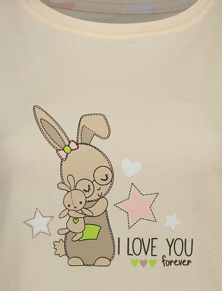 تی شرت و شلوار نخی زنانه طرح خرگوش و ستاره - گلبهي - 4