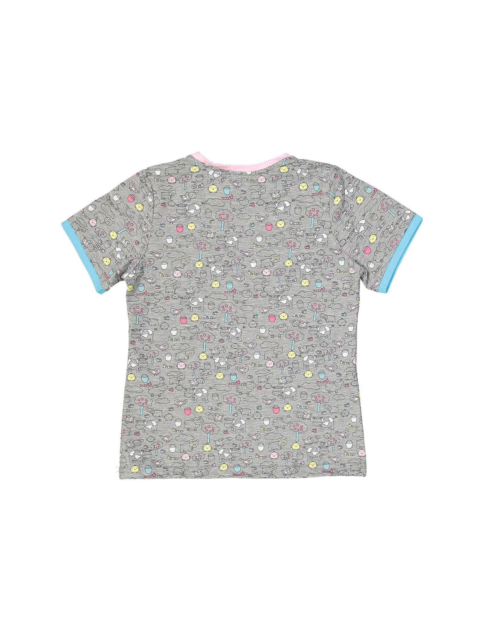 تی شرت و شلوار نخی بچگانه مزرعه شاد - ناربن - طوسي - 3
