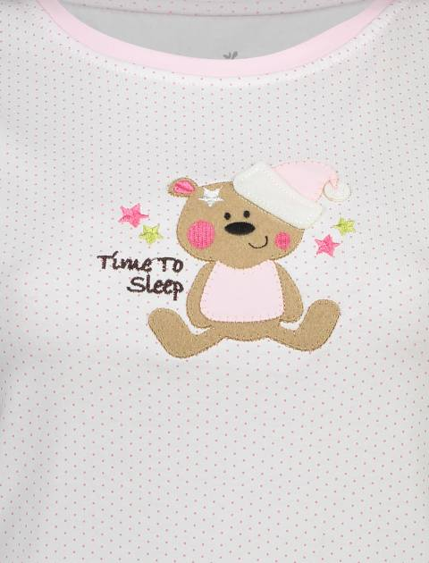 تی شرت و شلوار نخی زنانه طرح خرس خالدار - ناربن - صورتي - 5