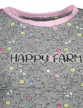 تی شرت و شلوار نخی زنانه مدل مزرعه شاد - طوسي - 5