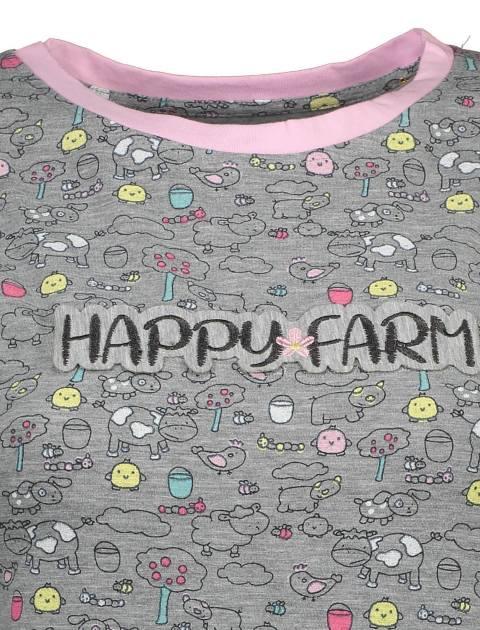 تی شرت و شلوار نخی زنانه مدل مزرعه شاد - ناربن - طوسي - 5