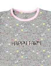 تی شرت و شلوار نخی بچگانه مزرعه شاد - ناربن - طوسي - 4