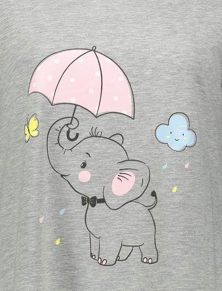 پیراهن خواب نخی زنانه فیل - طوسي - 5