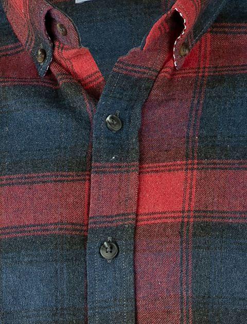پیراهن نخی آستین بلند مردانه - سرمه اي و طوسي - 5