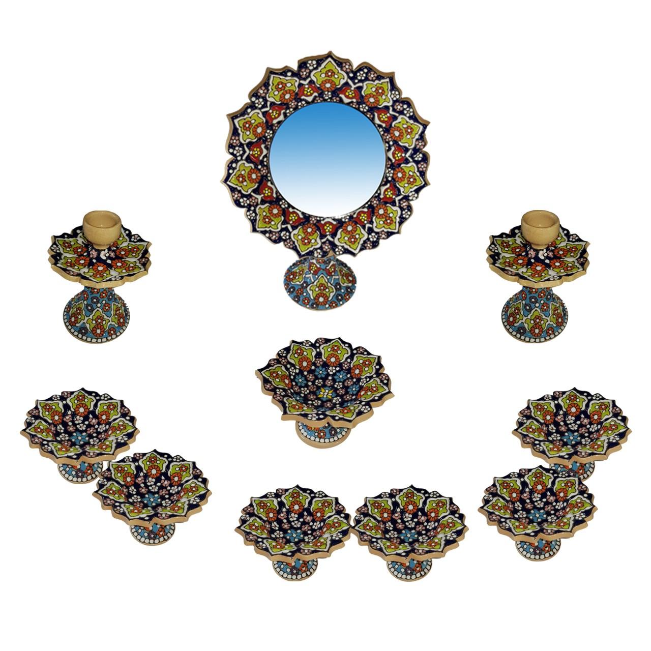 مجموعه 10 پارچه هفت سین سفالی لازاپونی طرح میناکاری مدل الماس کد79