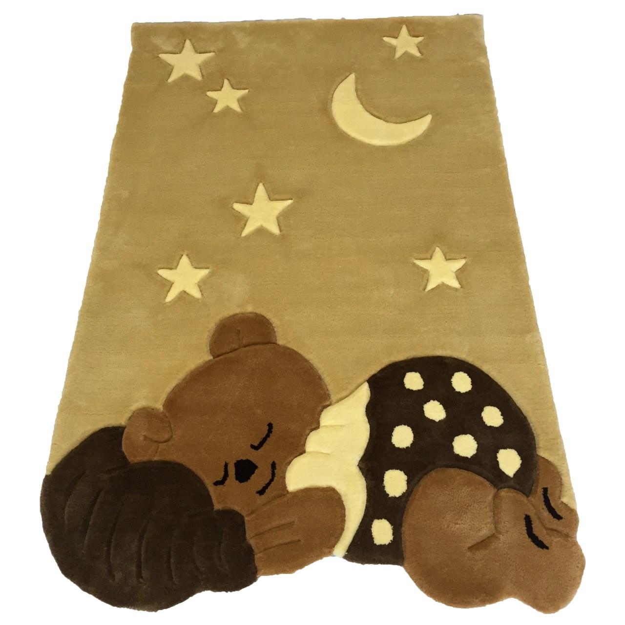 فرش نیمه دستی و برجسته پارس نگین مهام مدل خرس خوابالو کرم شکلاتی