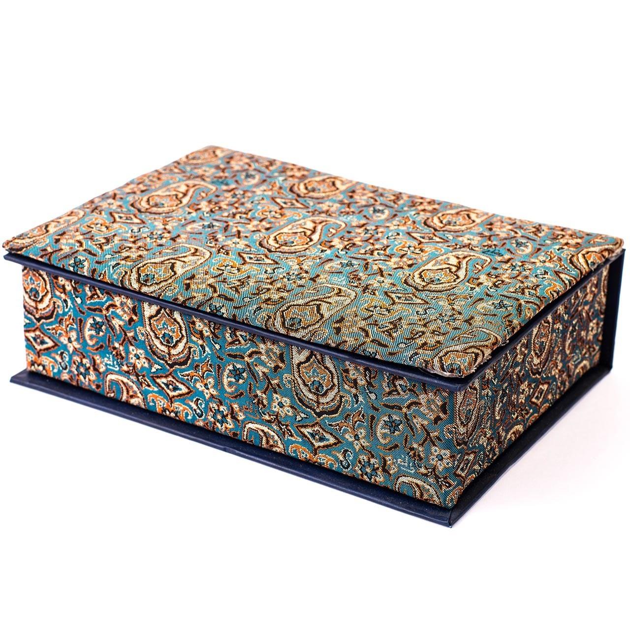 جعبه کارد و چنگال ترمه سنا مدل وزیری طرح یاس فیروزه ای