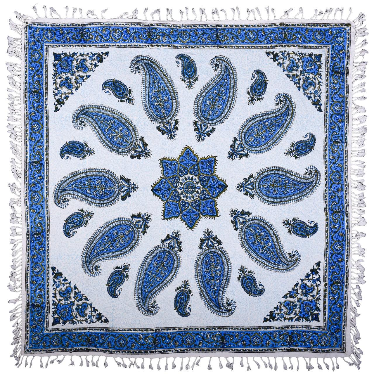 سفره قلمکار نرگس خانی درجه یک طرح خورشید آبی مدل 00-15 سایز100 × 100