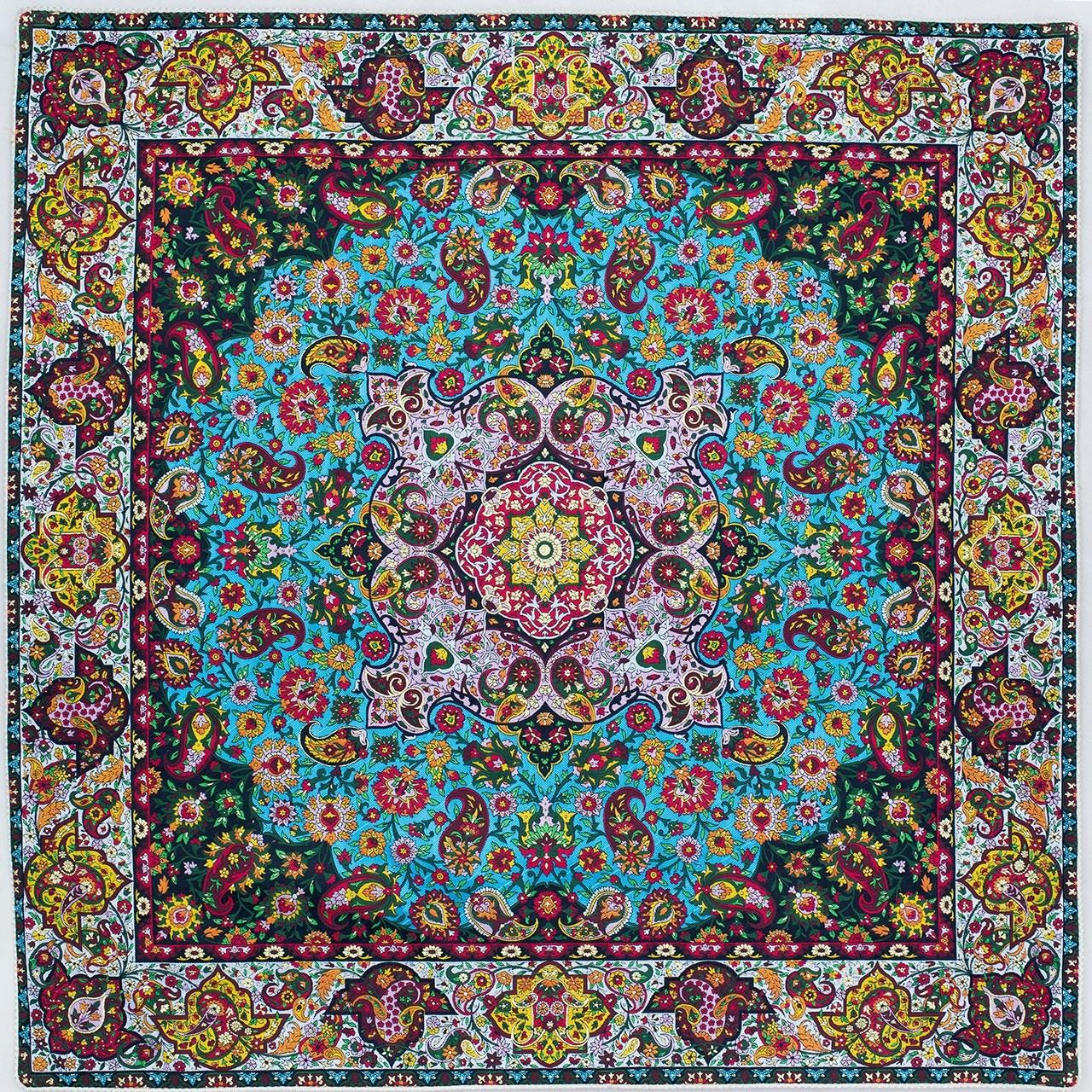 رومیزی ترمه ابریشم عدل کشمیر طرح ساران سایز 100 × 100 سانتی متر