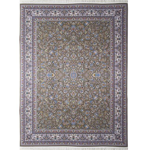 فرش ماشینی احتشامیه طرح افشاندرباری زمینه گردویی