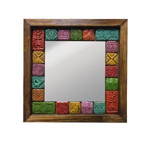 آینه چوبی گالری ره آورد مدل سفال دار کد 0002