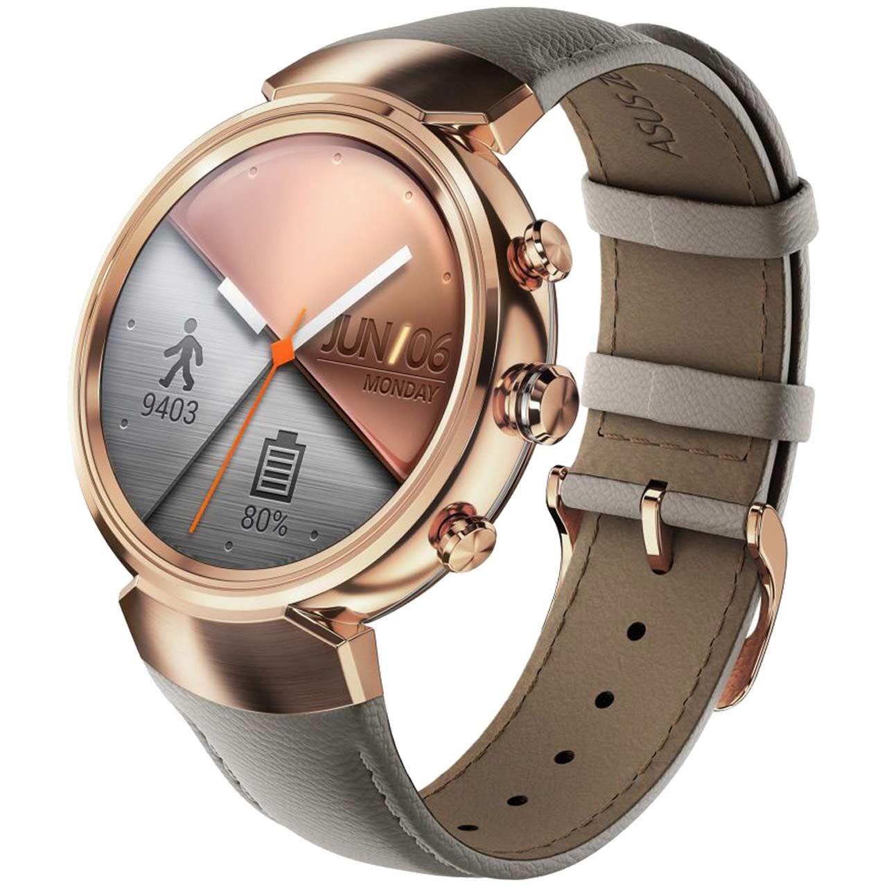 ساعت هوشمند ایسوس زن واچ 3 مدل WI503Q Rose Gold With Beige Leather Band