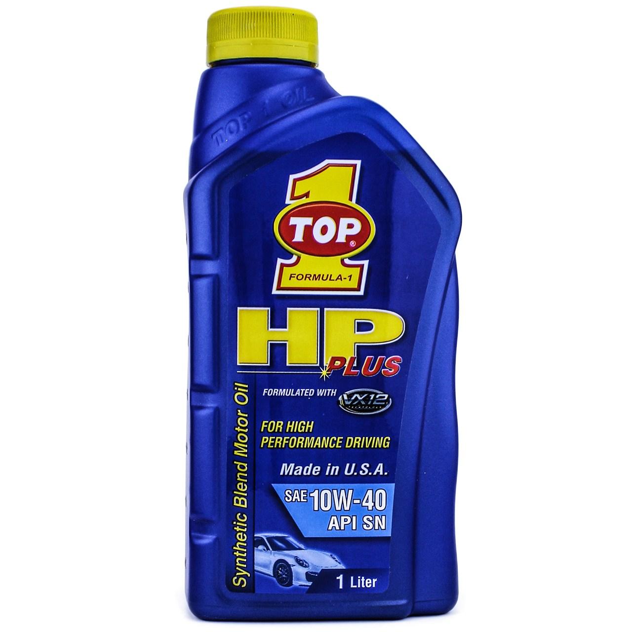 روغن موتور خودرو تاپ وان مدل HP Plus 10W-40 حجم 1 لیتر