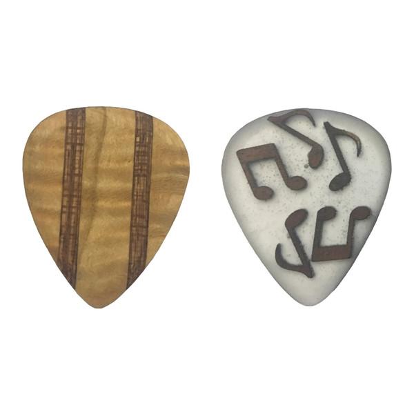 پیک چوبی  اپکسی رزین و گردو و افرا فر و ماهوگانی ترکیبی 2 گیتار چوپیک  بسته 2 عددی