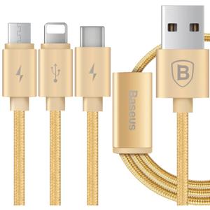 کابل تبدیل USB به microUSB/لایتنینگ/USB-C باسئوس مدل Portman 3 In 1 به طول 1.2 متر