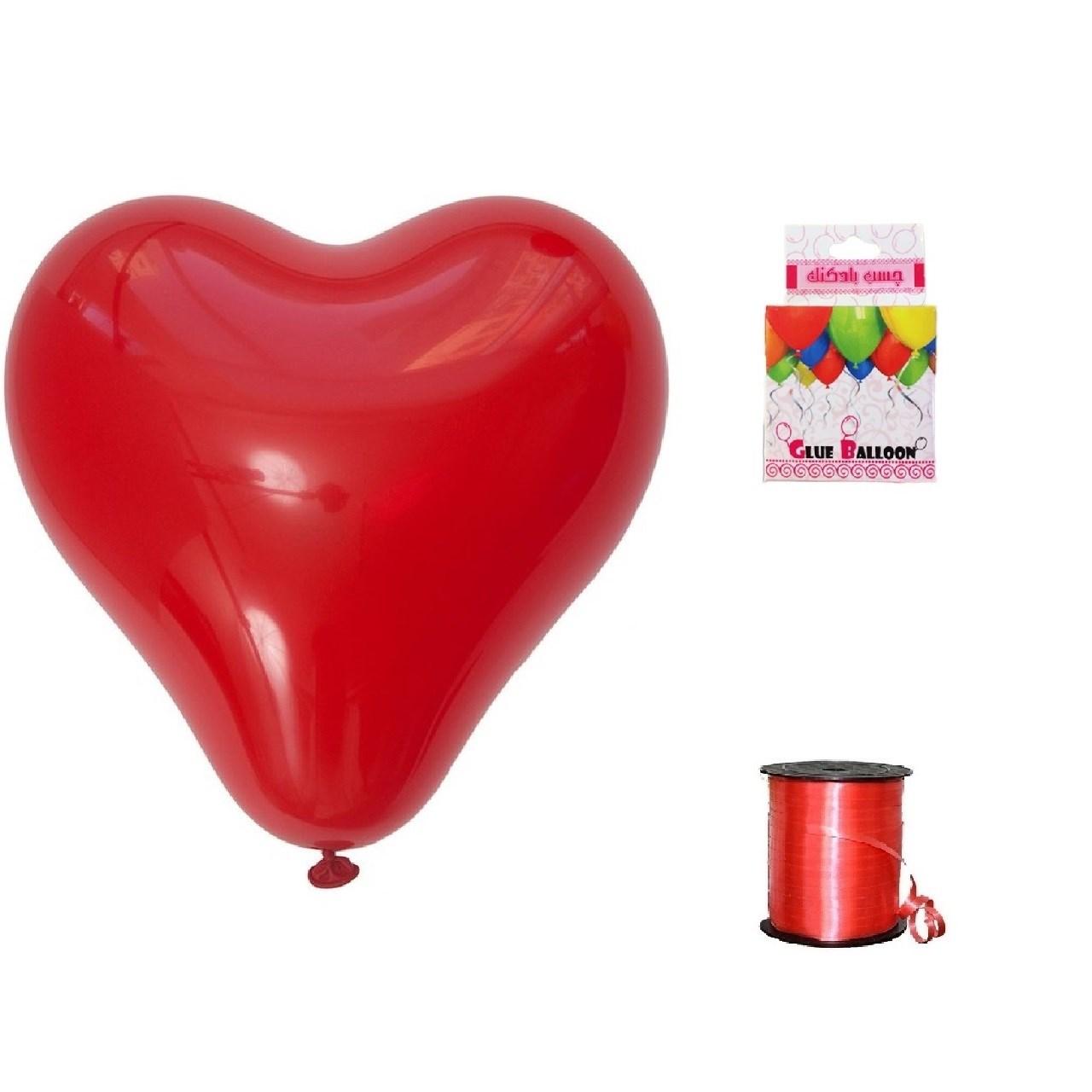پک بادکنک آرایی آقای هدیه مدل قلبی لاتکسی Helium Quality