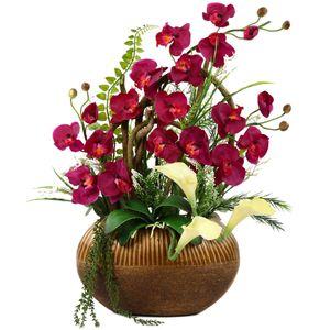 گلدان به همراه گل مصنوعی هومز طرح ارکیده زرشکی مدل 30427