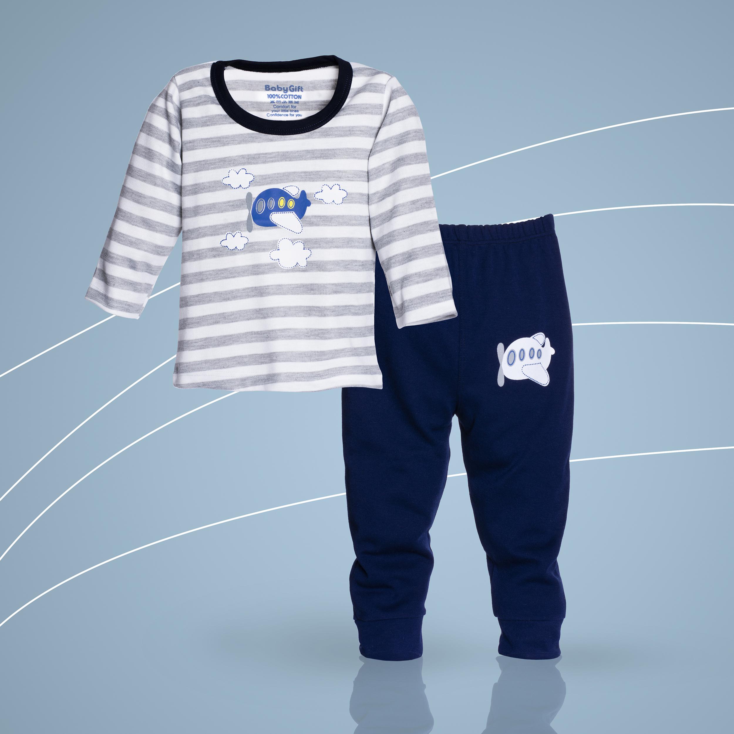 خرید                                     ست تی شرت و شلوار نوزادی پسرانه طرح هواپیما کد 100