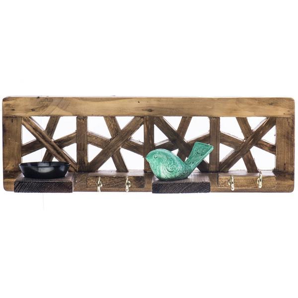 جاکلیدی گالری آسوریک مدل گره چینی طرح پرنده سبز کد 86034
