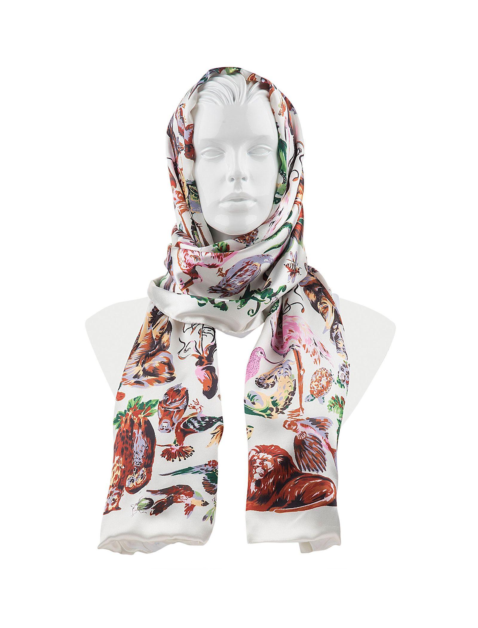شال ابریشمی زنانه - رزتی - سفيد - 3