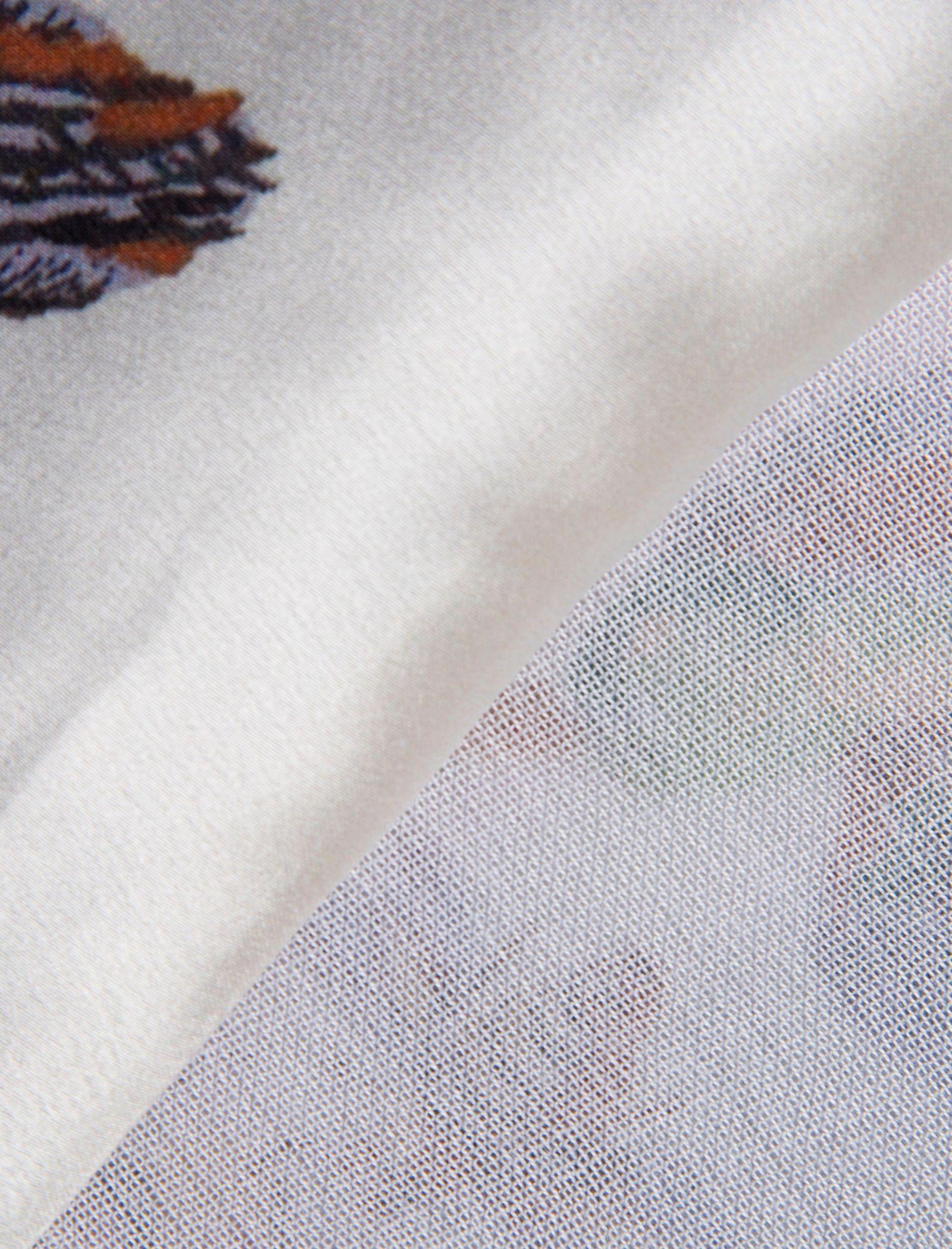 شال ابریشمی زنانه - رزتی - سفيد - 2