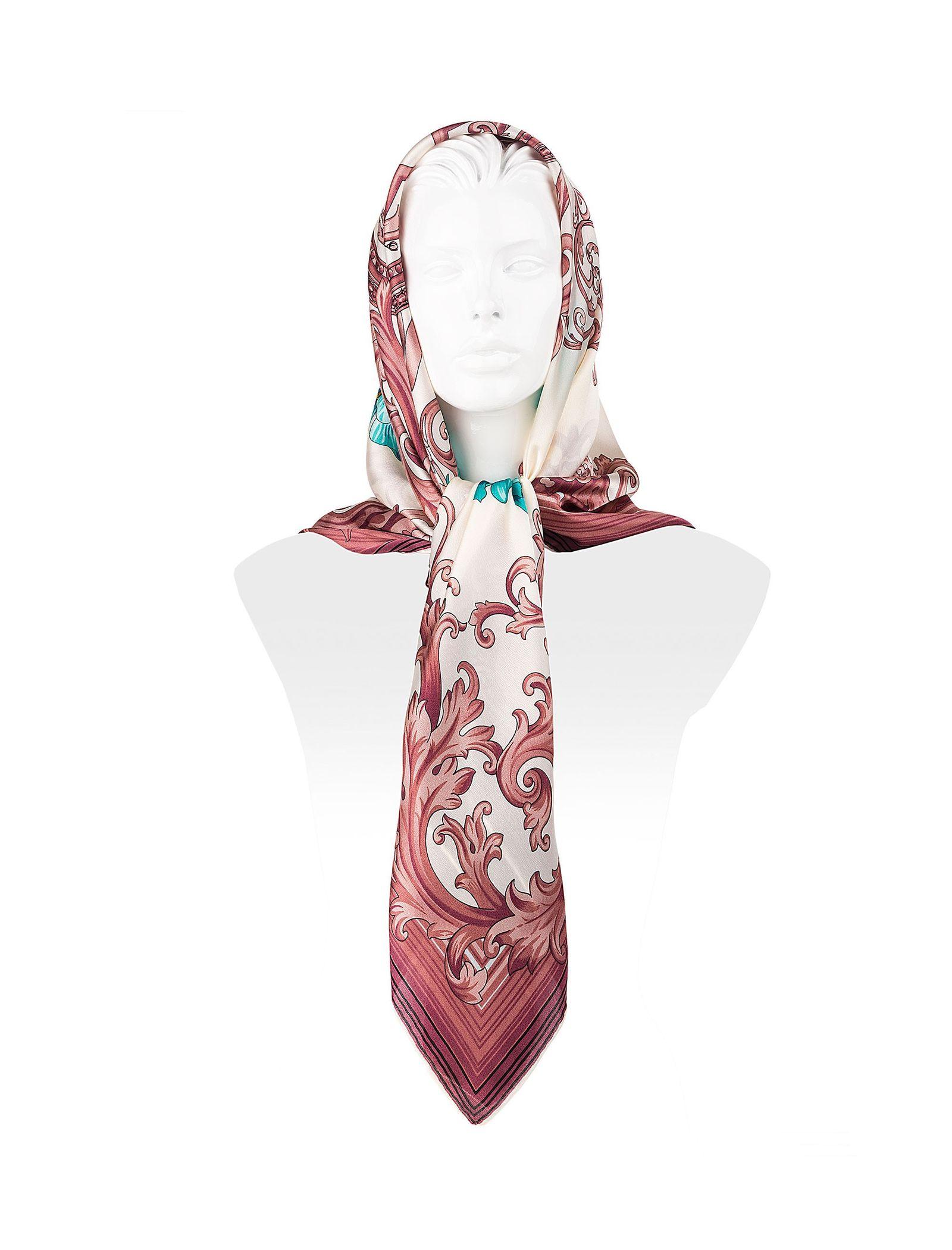 روسری ابریشمی زنانه - رزتی - سفيد و صورتي - 2