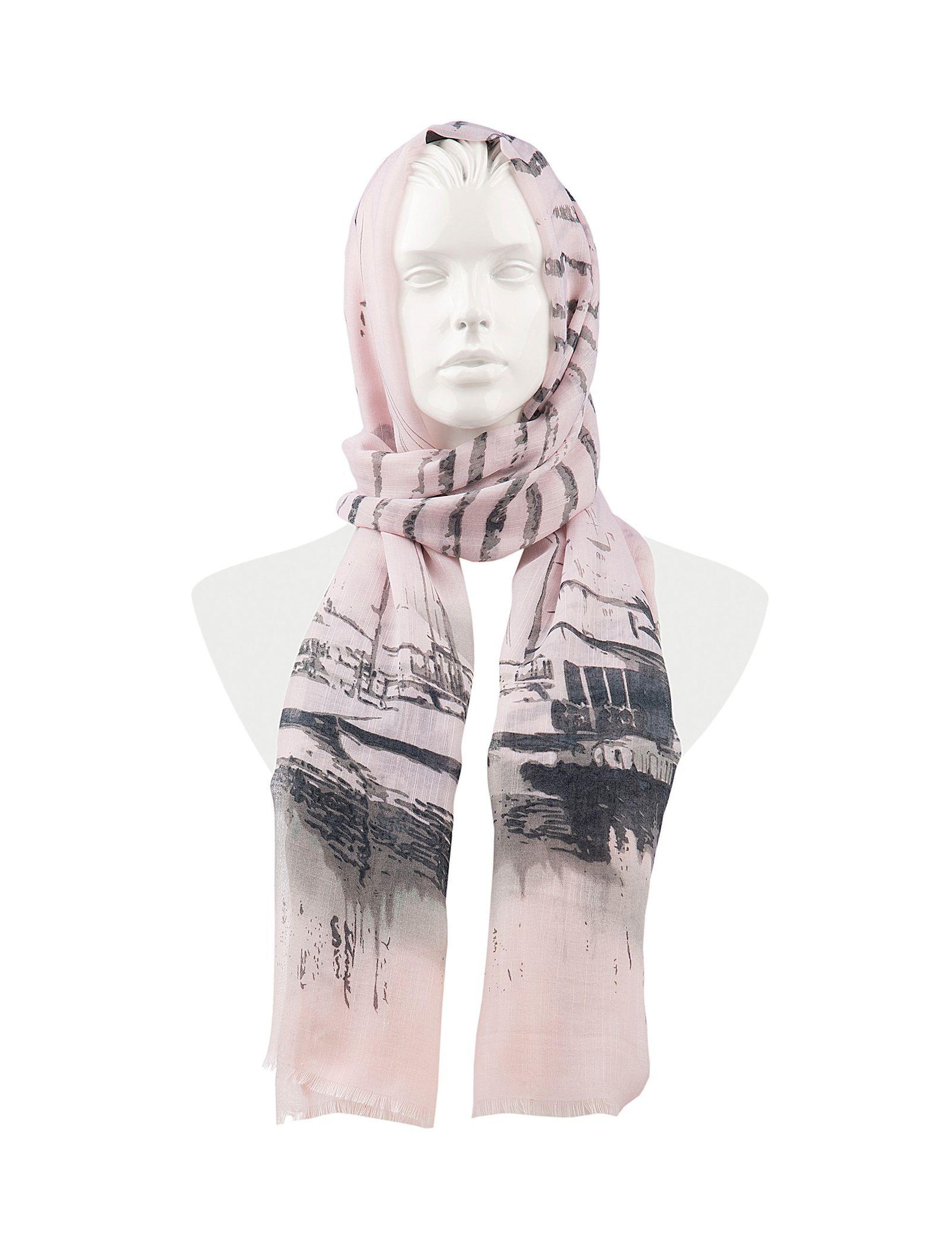 شال نخی زنانه - رزتی - صورتي و طوسي - 1