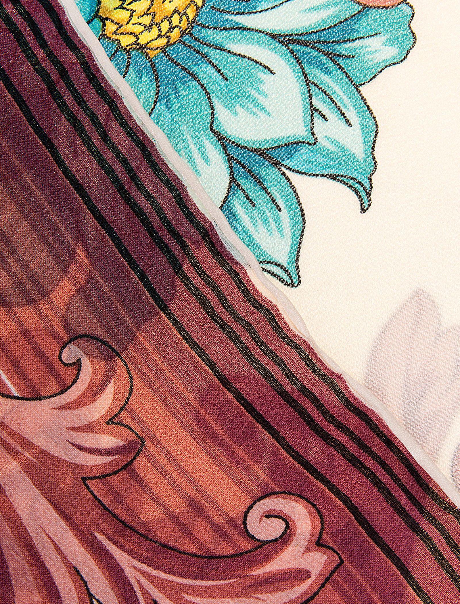 روسری ابریشمی زنانه - رزتی - سفيد و صورتي - 4