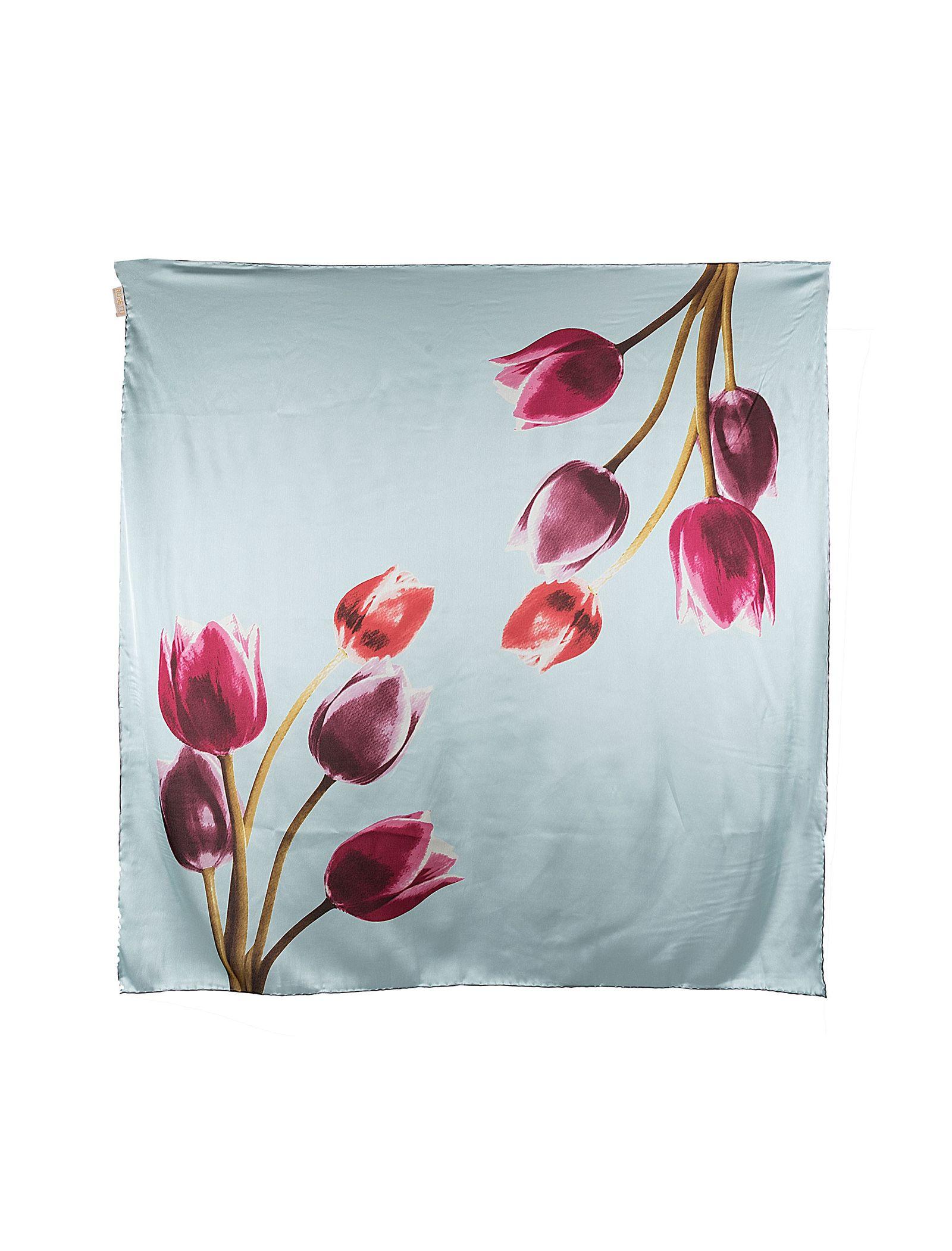 روسری ابریشمی زنانه - رزتی - آبي روشن - 1