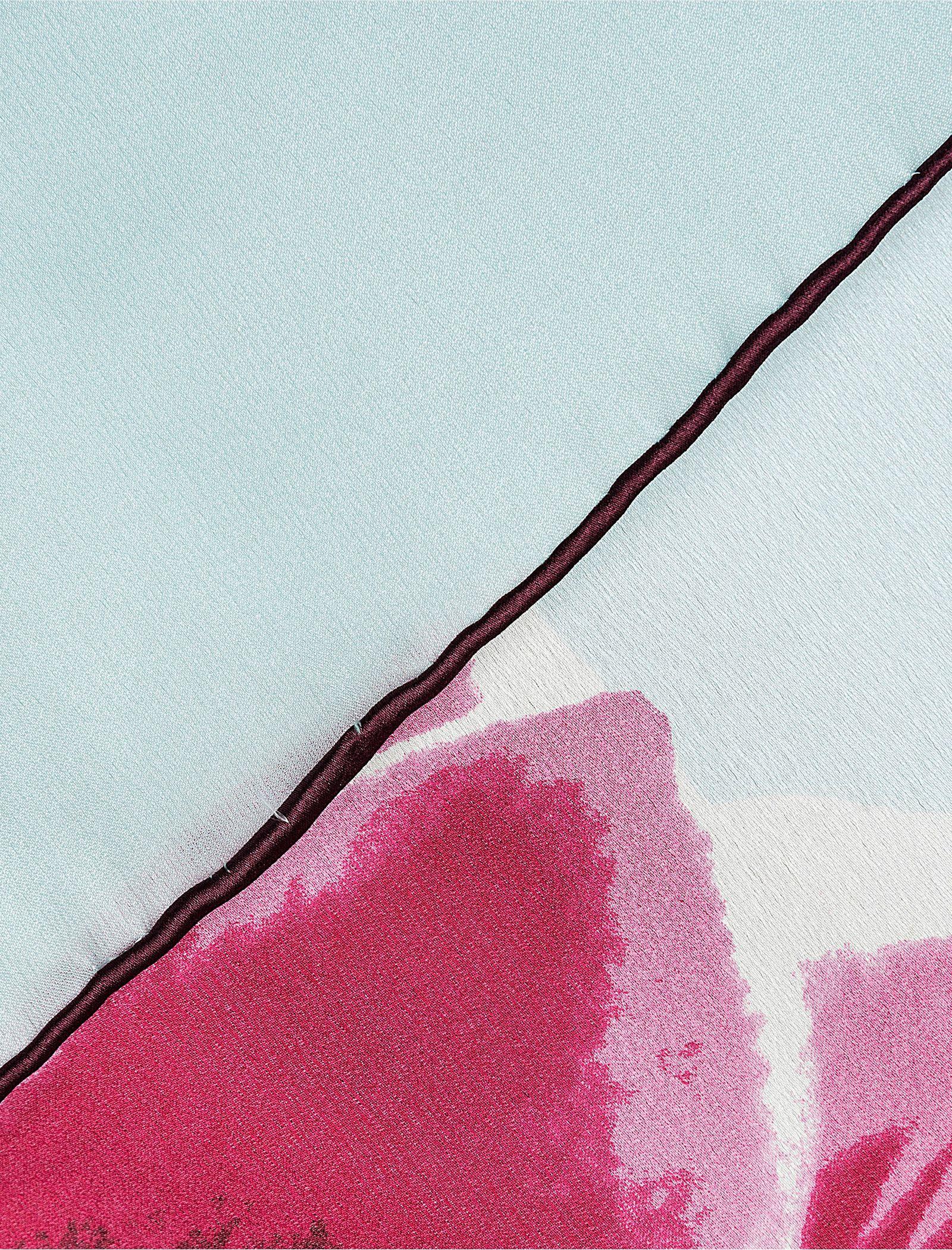 روسری ابریشمی زنانه - رزتی - آبي روشن - 2