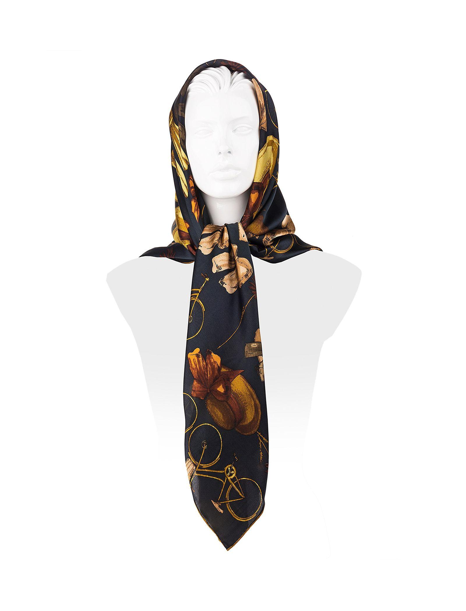 روسری ابریشمی زنانه - رزتی - زغالي - 3