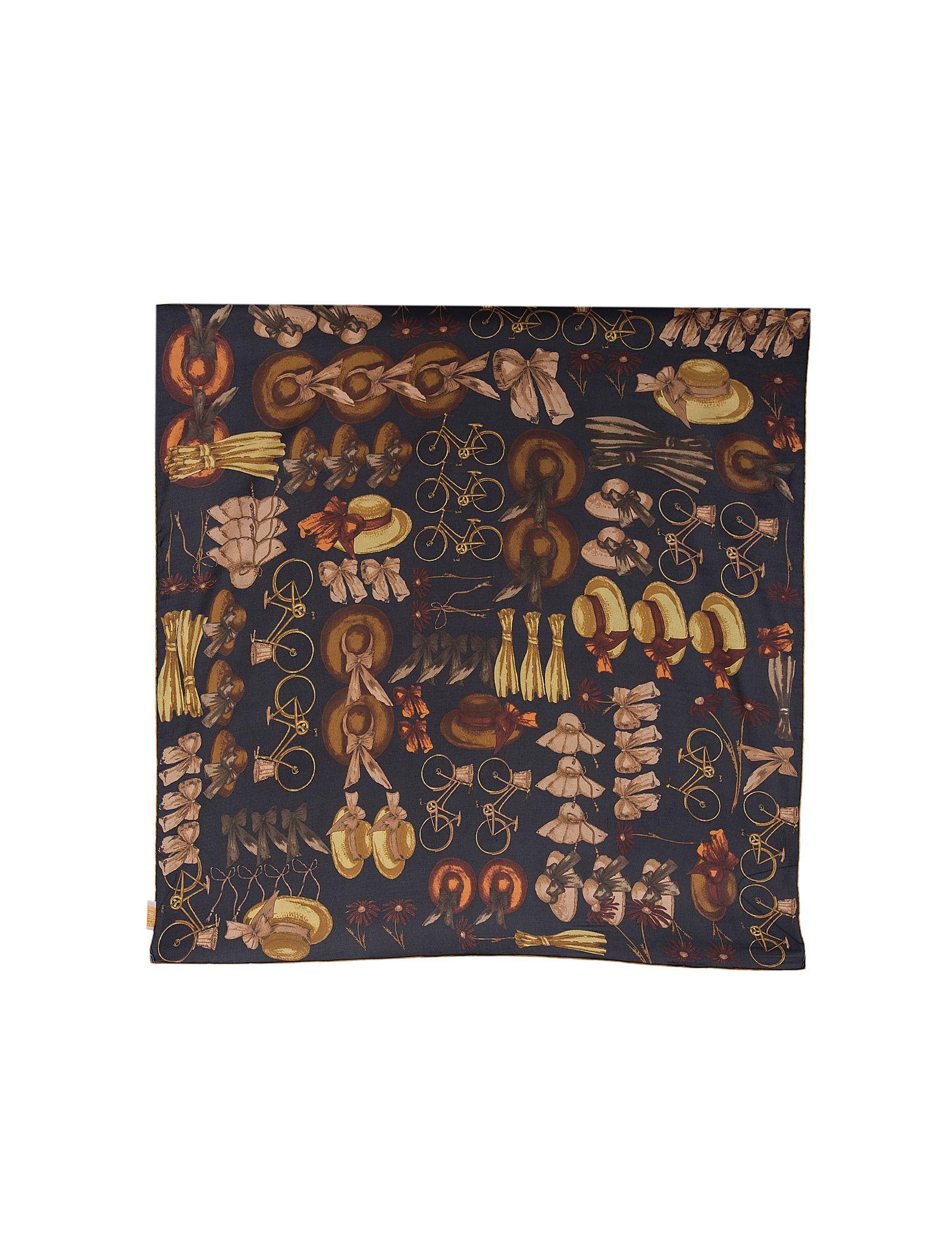 روسری ابریشمی زنانه - رزتی - زغالي - 1