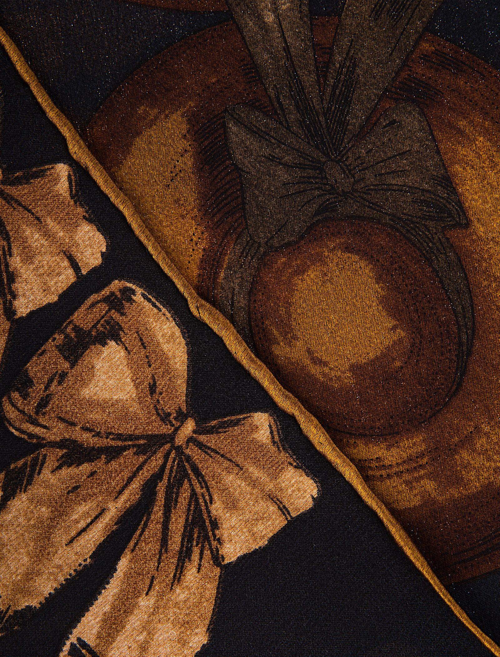 روسری ابریشمی زنانه - رزتی - زغالي - 2